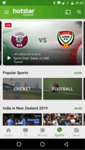 Hotstar sports app for live updates