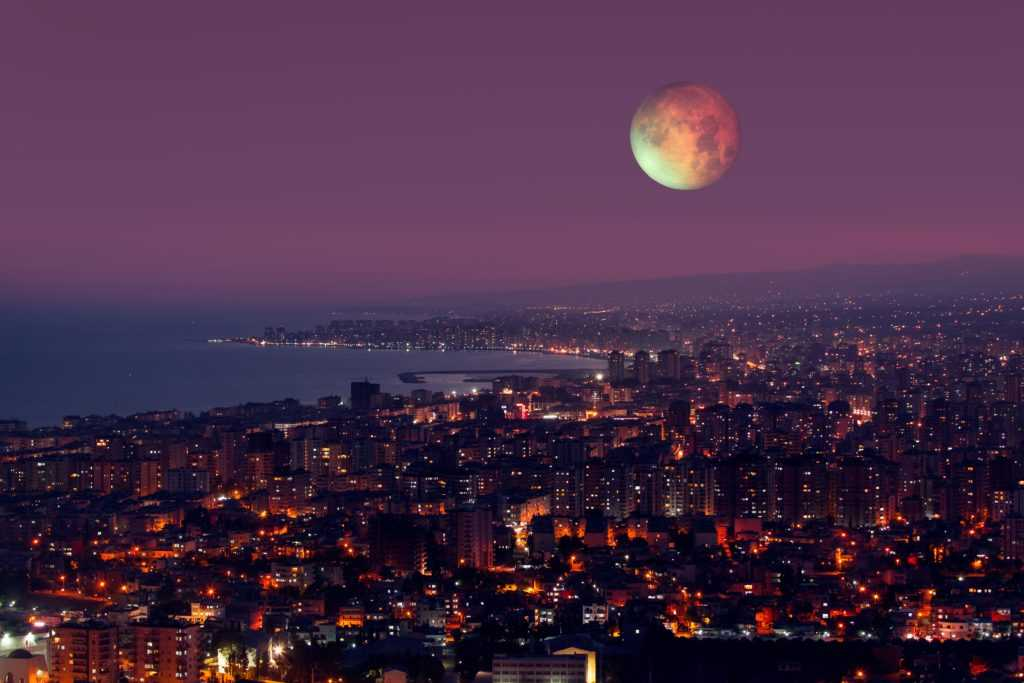 chandra grahan apps - lunar eclipse over city