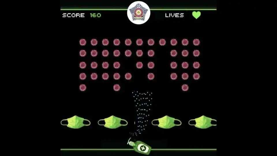 Mumbai Police Space Invaders video game