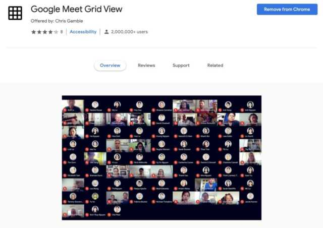 Use Google Meet Extension Grid View 1