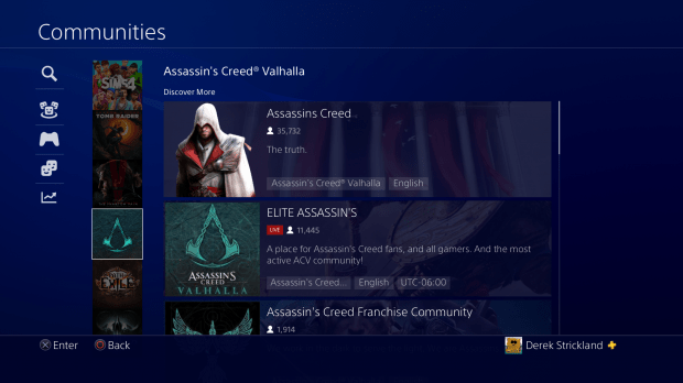 PS4 Communities Feature