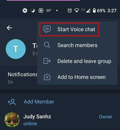 start voice chat on telegram