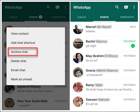 hide whatsapp chat without deleting 1