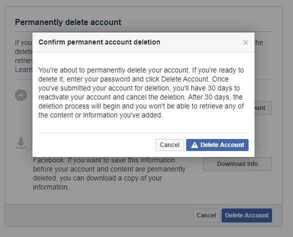 delete facebook account permanently immediately in mobile 1